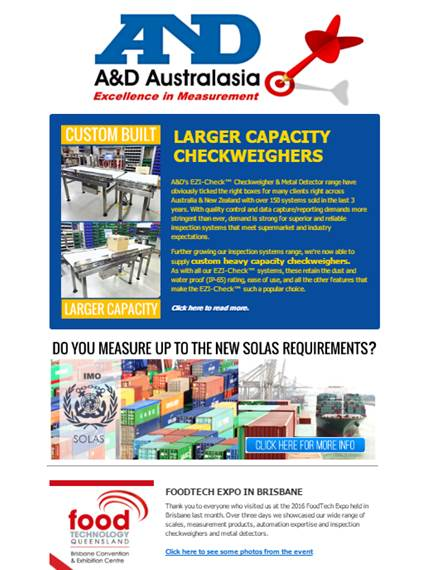 A&D Weighing Newsletter August 2016