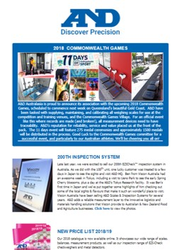 A&D Weighing Newsletter March 2018